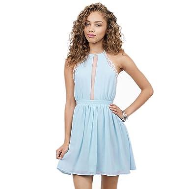 WeHeart Womens Purple Blue White Cold Shoulder Lace Trim Mesh Mini Dress  (Blue d9d395f664