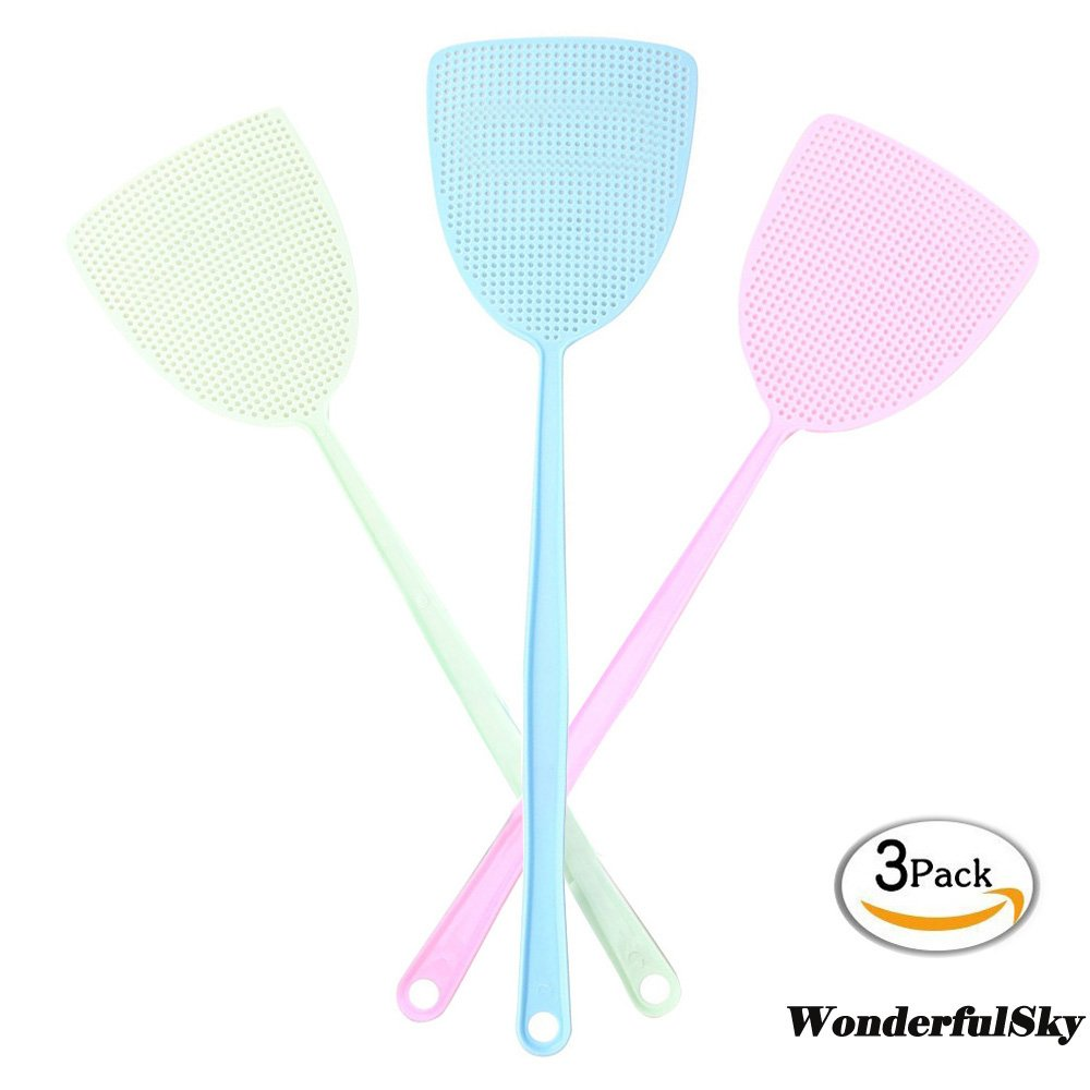 Fly Swatter, Wonderfulsky 3-pack Manual Swat Pest Control- Long Plastic Handle ( 18 inch ) Hand Swatters for Flies - Easy for Kids to Use
