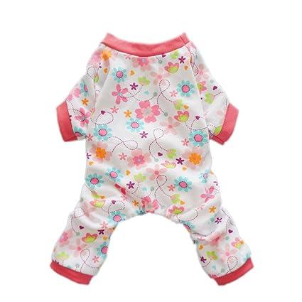 7fec9a1857 Fitwarm Pink Floral Dog Pajamas Dog Shirt Cozy Dog Clothes Pet Shirt