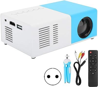 Opinión sobre Annadue Mini proyector portátil, Cine en casa LED J9, proyector de Reproductor de Medios de Video con la resolución más Alta de 1920 x1080P, Conveniente de USA (Blanco Azul)