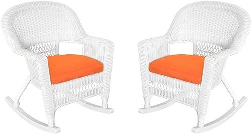 Jeco Rocker Wicker Chair with Orange Cushion, Set of 2, White