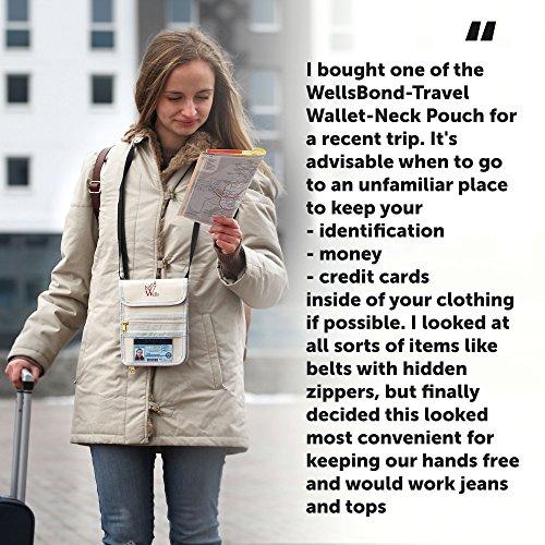 Passport Holder Travel Wallet Neck Pouch RFID Protect Document Organizer for Men Women Wellsbond Beige, 12 Pockets