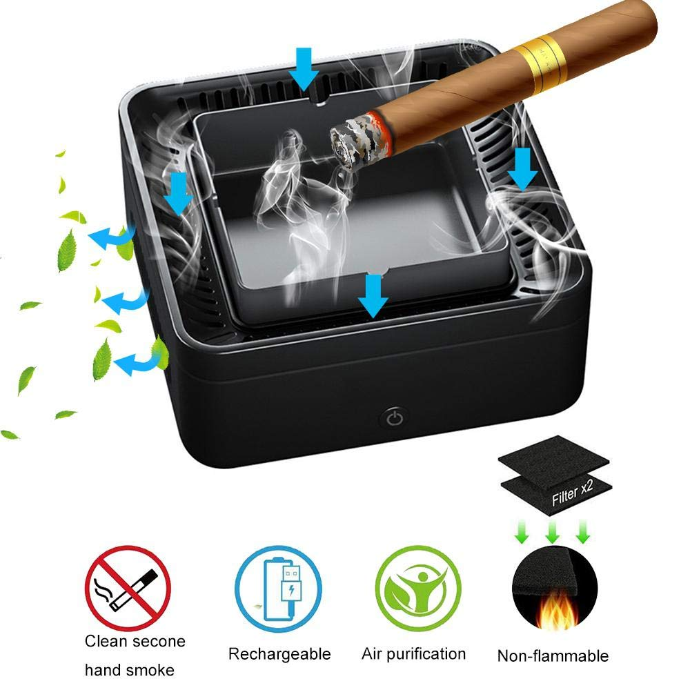 Lesgos Smokeless Ashtray Air Purifier, Multifunction USB Rechargeable Smoke Grabber Ashtray Secondhand Smoke Remover Negative Ion Air Freshener for Car/Home/Office