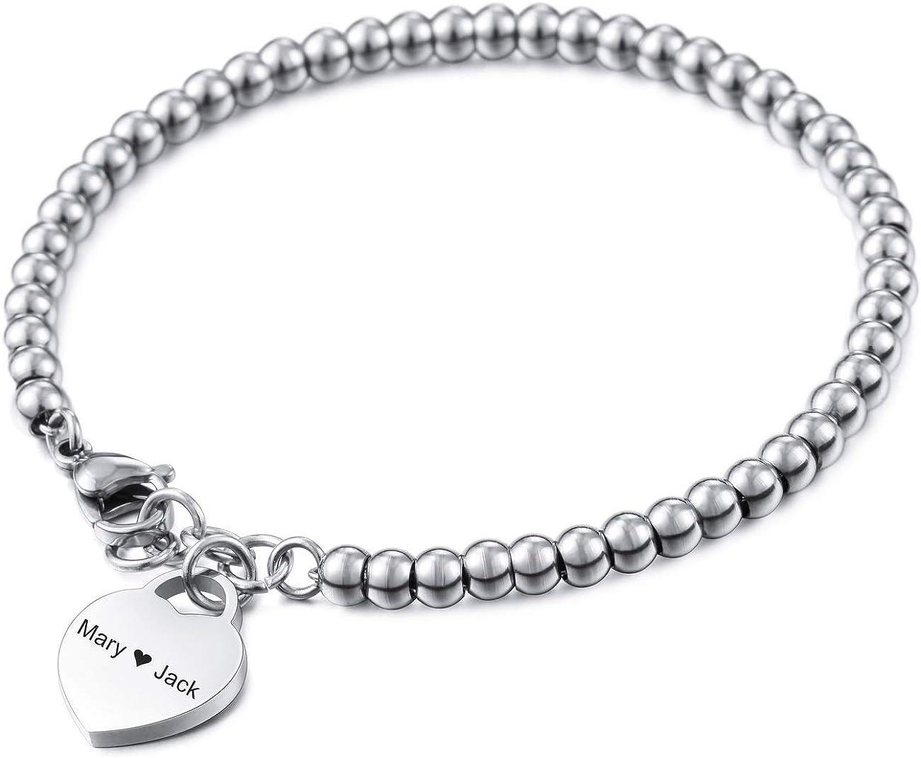 MeMeDIY Pulsera Personalizada Nombres Grabados para Mujeres Niñas Acero Inoxidable Enlace Ajustable de Cuentas de Tobillo con corazón Regalos de Dama de Honor Pulseras de Mejor Amigo (3 Colores)