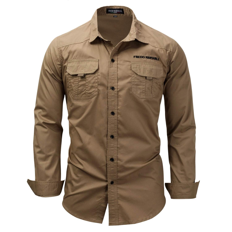 CYJ-shiba Men Military Style Long Sleeves Work Shirt Cargo Shirt
