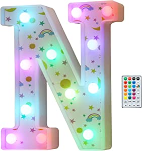 Colorful LED Marquee Letter Lights, 18 Colors Changing Light Up Rainbow Moon Star Cloud Decorative Letter Sign with Remote, Girl's Gifts Birthday Party Kid's Room Children Bedroom Decor -Letter N