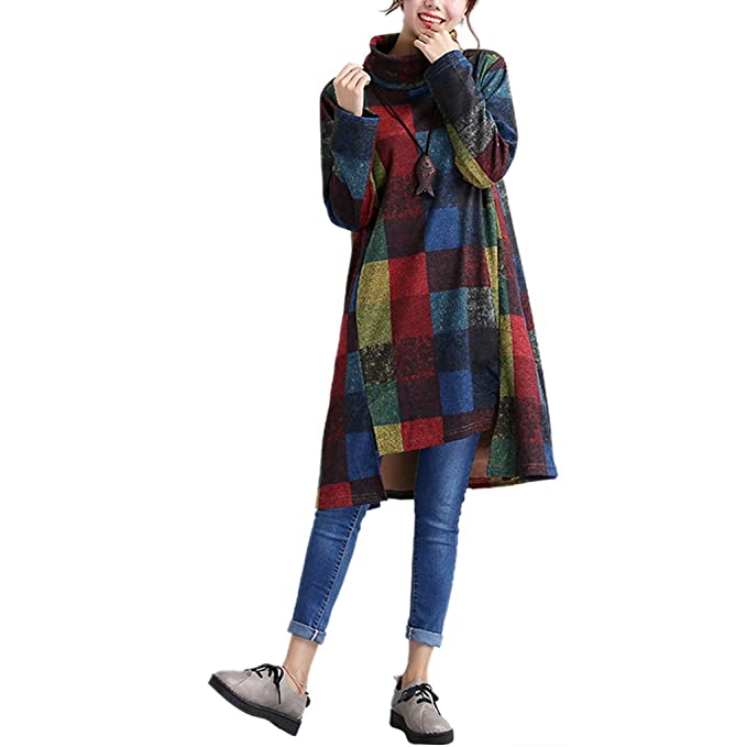 59688dd0ae19 Landove Pullover Vestito Donna Invernale Casual Felpa Manica Lunga Ragazza  Vestiti Linea A Swing Abito Taglie