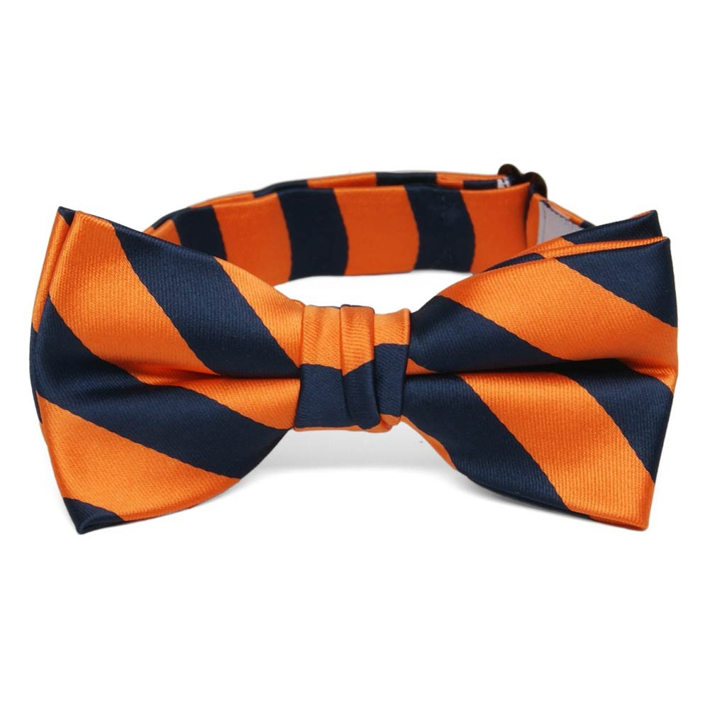 TieMart Boys' Navy Blue and Orange Striped Bow Tie