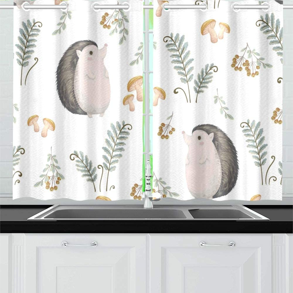 Qiaolii Hedgehog Fern Mushrooms Tree Kitchen Curtains Window Curtain Tiers For Café Bath Laundry Living Room Bedroom 26 X 39 Inch 2 Pieces Amazon Co Uk Kitchen Home