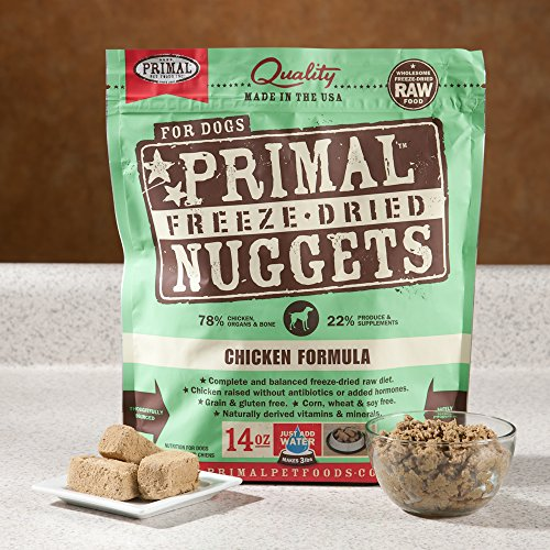 Primal Pet Food - Freeze Dried Dog Food 14-ounce Bag With Hot Spot Pet Food Bowl - Made in USA (Turkey)