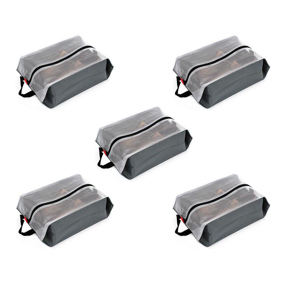LETLAX Travel Shoe Bags Waterproof Nylon for Women & Men,Shoe Tote bags for Sports Gym,5 PCS (Gray)