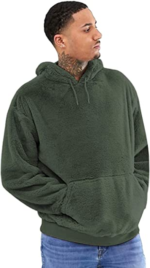 Mens Pullover Hoodies Casual Double Fuzzy Pile Fleece Sweatshirt Outwear S-XXL