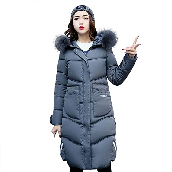 BAINASIQI Women\'s Fur Collar Hooded Warm Coat Quilted Jacket Long Down Cotton Parka For Winter B0762GXDTR