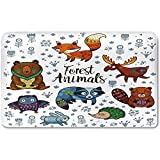 Memory Foam Bath Mat,Cabin Decor,Set of Cute Woodland Animals Tribal Nature Elements Kids Room Nursery Wall ArtPlush Wanderlust Bathroom Decor Mat Rug Carpet with Anti-Slip Backing,Multicolor