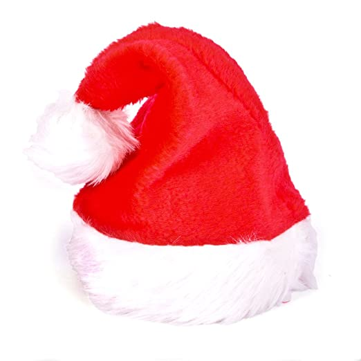 8d2475f9e1 Amazon.com  Plush Red Santa Claus Hat w White Faux Fur Trim Adult ...
