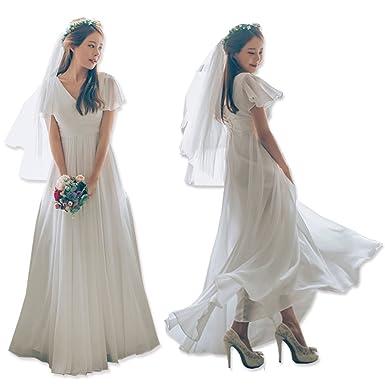 1699ca82213fe Vネック エンパイアライン ウェディングドレス パーティードレス 二次会 花嫁ドレス エンパイアドレス 韓国生産