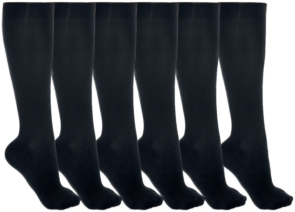 Women's Trouser Socks, 6 Pairs, Opaque Stretchy Nylon Knee High, Many Colors
