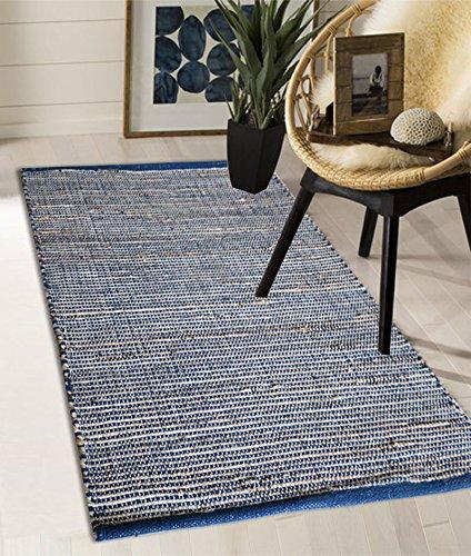 The Home Talk Blue Plain Jute Rug/Runner, 2 x 3 Feet or 60x90 cm, for Bedroom/Kitchen