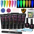 SXC G-09 Polygel Nail Kit Glow In The Dark 6pcs 30ML Nail Extension Gel All-In-One Nail Enhancement Starter Gel Builder Nail Technician Set(Rainbow Series)
