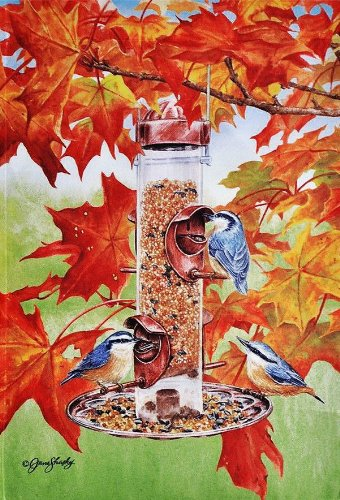 Backyard Birds in Autumn Leaves Large Fall Flag 28