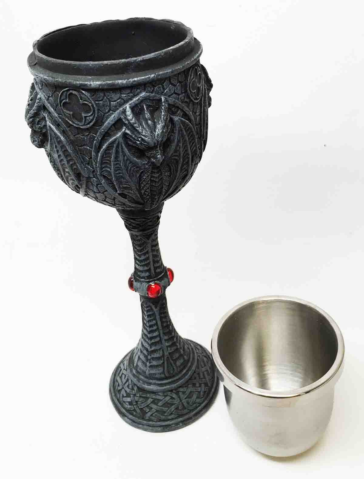 Pacific Trading Gothic Crucible Dragon Resin Wine Goblet Chalice with Stainless Steel Cup