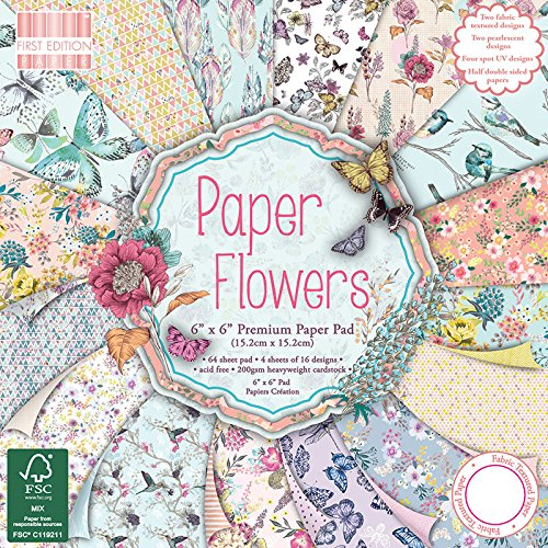 6 x 6 Blocco di carta Paper Flowers First Edition