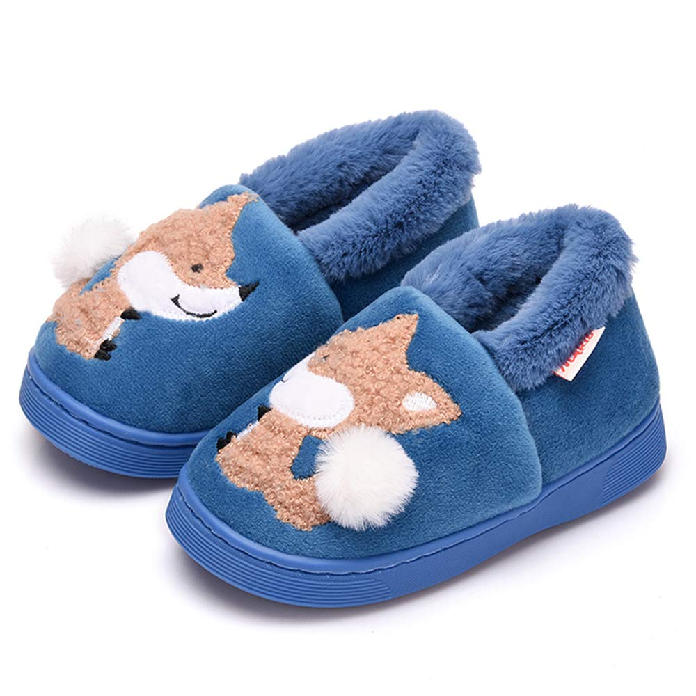 ALPARA Boys Girls Slippers Fur Lined Kids House Slippers Cute Animal Home Slipper Toddler/Little Kid, Indigo 210