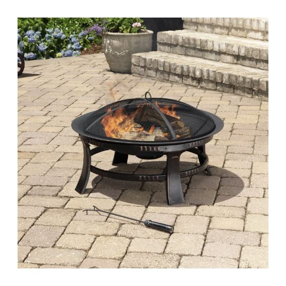 Pleasant Hearth OFW106R Brant Round, 30-Inch fire Pit, Regular, Rubbed Bronze - Round, bronze fire pit that's perfect for backyards, tailgating, camping, or at the beach Sturdy legs ensure the fire pit will hold up Comes equipped with a mesh cover to help reduce sparks - patio, outdoor-decor, fire-pits-outdoor-fireplaces - 61Wq8N35L5L. SS570  -