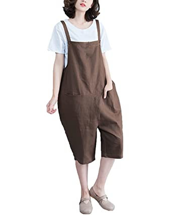 2aead250c7d StyleDome Women s Retro Loose Casual Baggy Sleeveless Overall Bib Brace  Rallover Long Jumpsuit Playsuit Trousers Pants