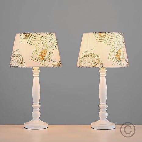 Par (2 x) lámparas de mesa o noche Paquebot, barco de vapor, Colonial. Patas en color blanco con 2 lámparas en crema decorado con diseño postal