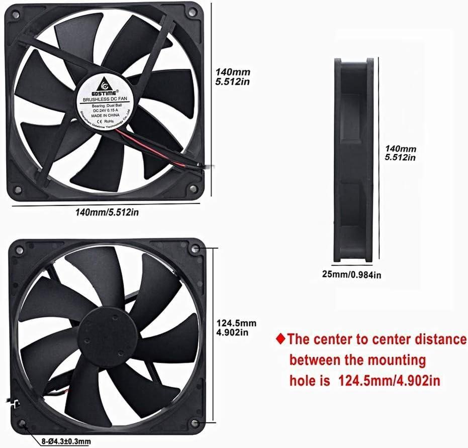 140mm x 25m Dual Ball Bearings Dc Cooling Fan GDSTIME 140mm 24V Brushless Fan