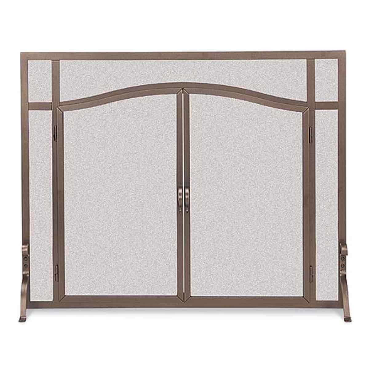 amazon com flat bronze finish fireplace screen w feet u0026 doors 44