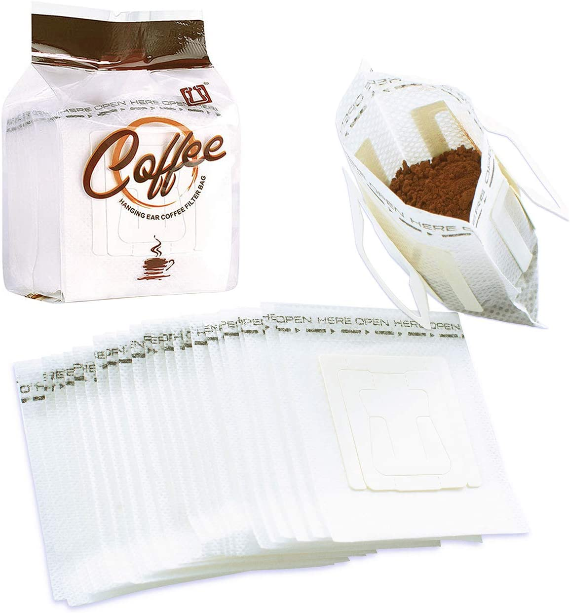 CIOEY 50Pcs Portable Coffee Filter Paper Bag Hanging Ear Drip Coffee Tea Packets Single Serve Disposable Drip Coffee Filter Bag Food Grade Perfect for Home, Office, Travel, Camping 3.5 x 3in