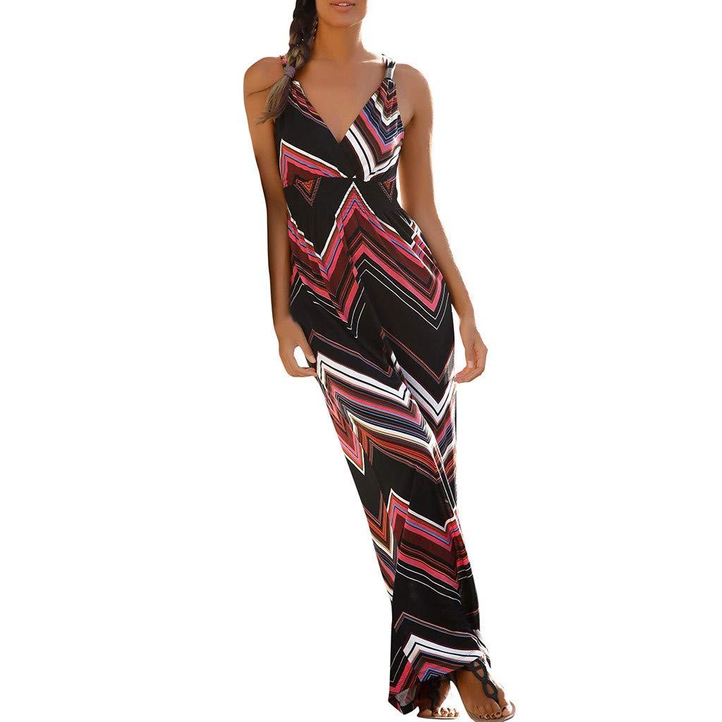 Women Strap Wrap Maxi Dress | Ladies Fashion Boho Print V Neck Empire Waist Pleated Swing Dresses |Casual Beach Vacation Flare Dress