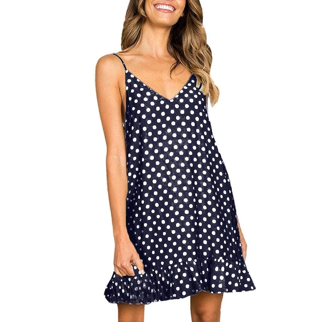 Damen Sling Bedrucktes Kleid mit Rüschen,Pottoa Frauen Nachthemd - Lose Freizeit Sommerkleid - Etuikleid Sexy V-Ausschnitt
