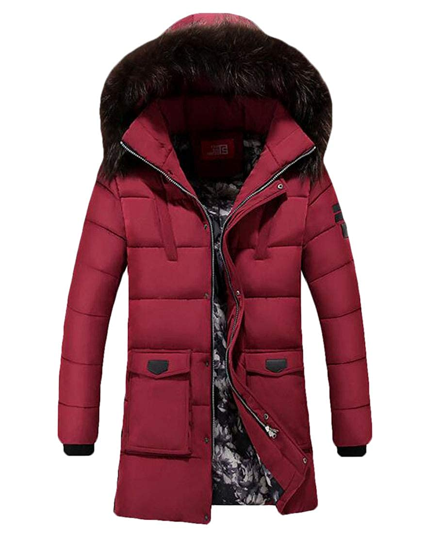 UUYUK Men Mid Long Winter Warm Outdoor Overcoat Outerwear with Hoodoe