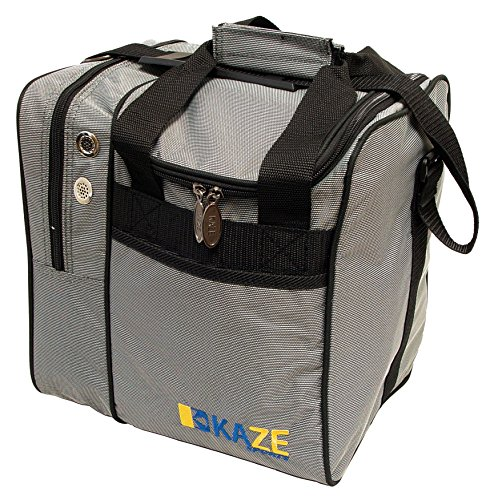 Price comparison product image KAZE SPORTS Deluxe Single Ball Bowling Tote Bag,  Gray / Black