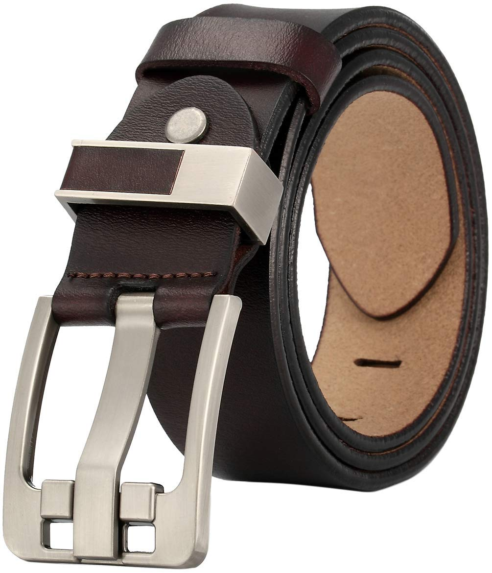 JingHao Casual Mens Belts for Jeans Alloy Buckle Genuine Leather Belt Black Brown Big Size 28-65 A10