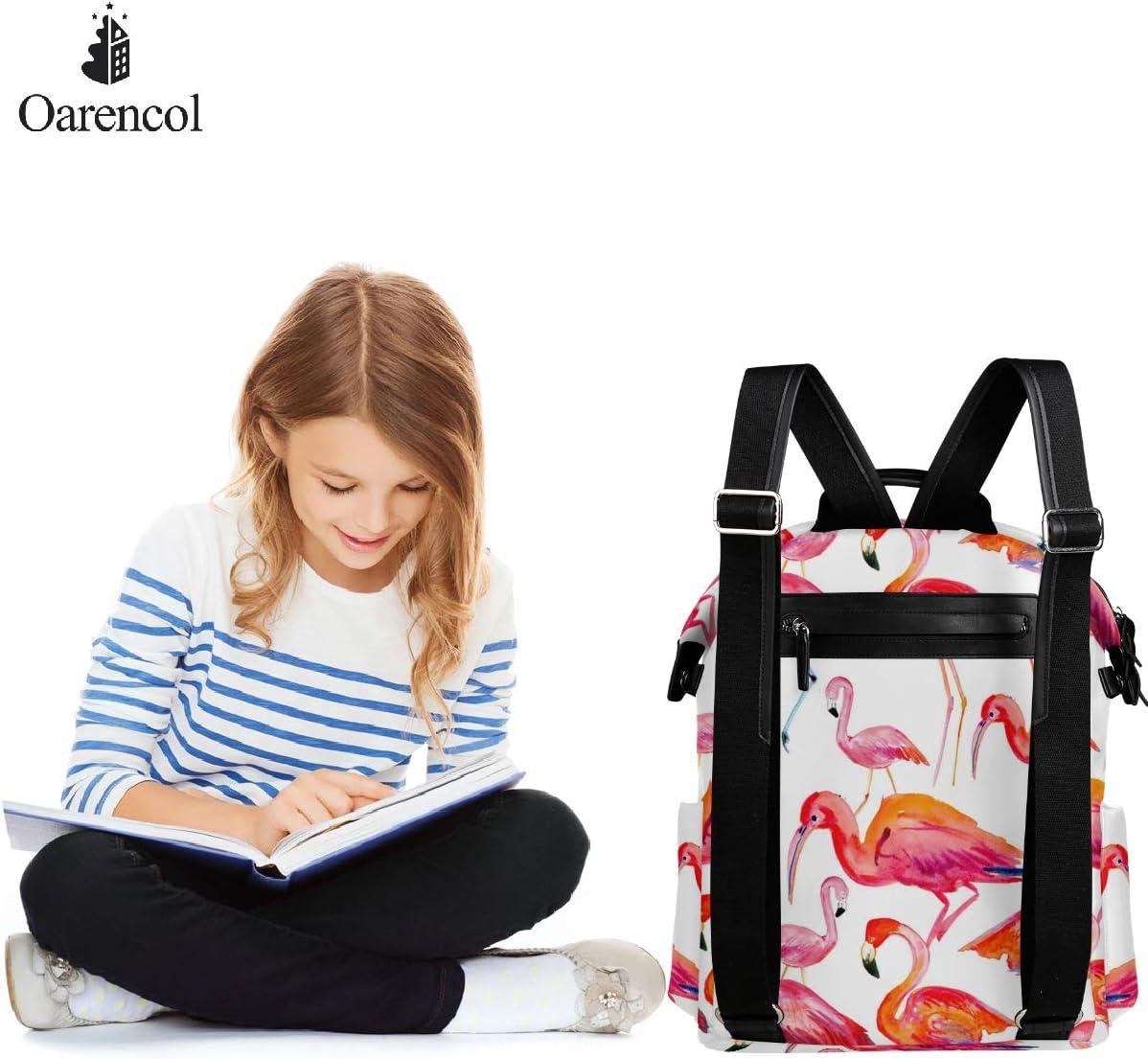 Oarencol Watercolor Red Flamingo Backpack Summer Animal Pink Bird School Book Bag Travel Hiking Camping Laptop Daypack