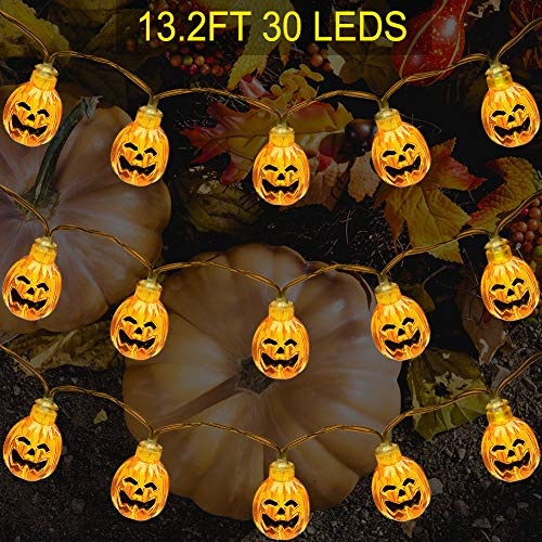 Thanksgiving Decorations Pumpkin String Lights, ZALALOVA 13.2ft 30LEDs Waterproof 3D Jack-O-Lantern Pumpkin Lights Battery Powered Fairy Lights for Christmas Indoor Outdoor Decor (Warm White)