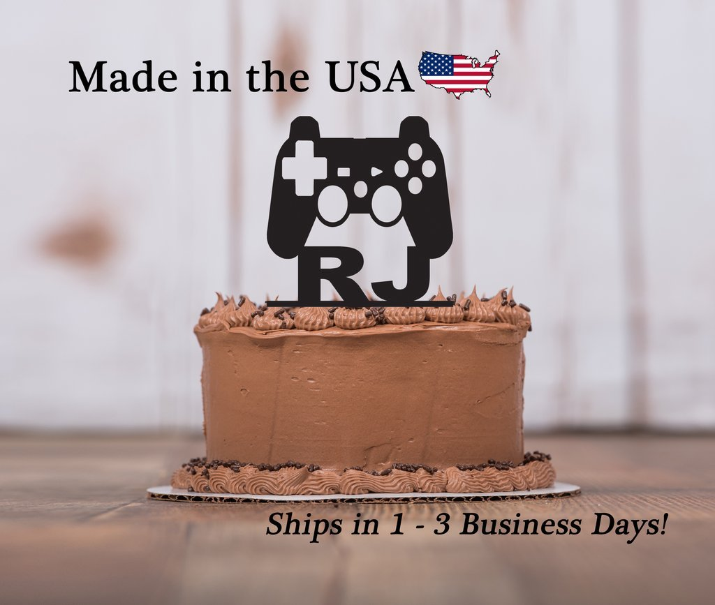 Gamer Cake Topper With FREE Keepsake Base Game Controller Boys Birthday Party Personalize Decor