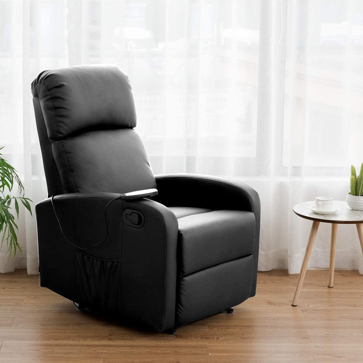 Giantex Manual Leather Padded Recliner Chair Luxury leather