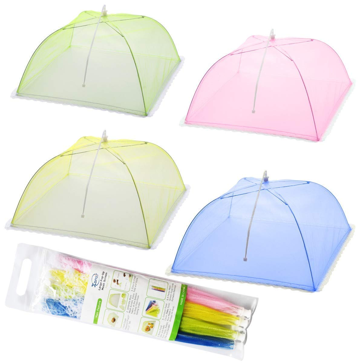 Mesh Screen Food Cover Tents - Set of 4 Umbrella Screens to Keep Bugs and Flies Away from Food at Picnics, BBQ & More - 4 Colors (Pink, Green, Blue, Yellow) XONOR