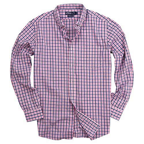 Urban Boundaries Men's 100% Cotton Plaid Long Sleeve Shirt