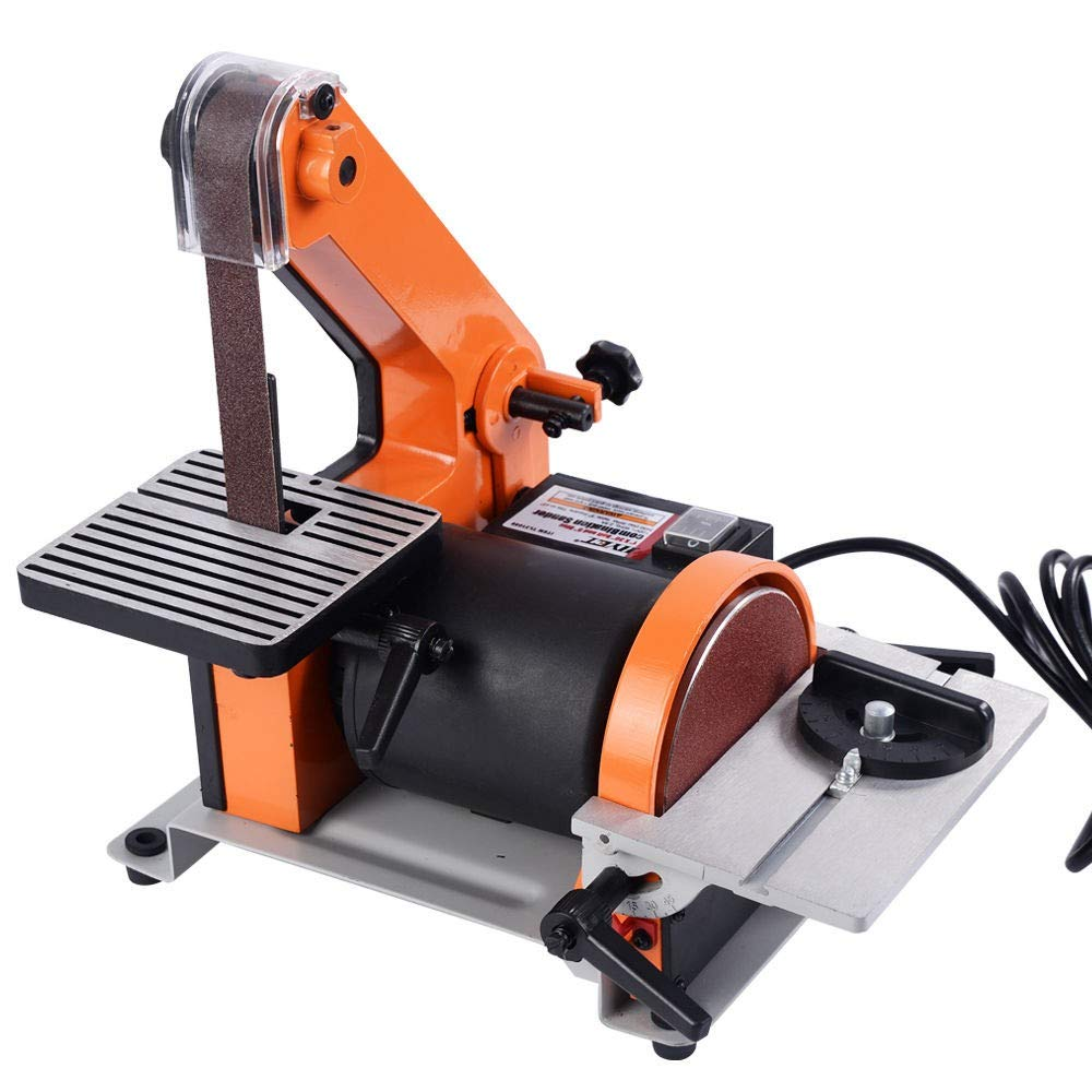 1'' X 30'' Belt 5'' Disc Sander 1/3HP Polish Grinder Sanding Machine New | Made of Quality Durable Heavy Duty Steel | Saw Dust and Debris Collection Port by COSTWAY