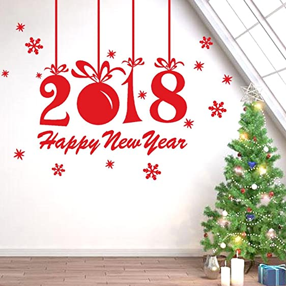 Leyorie 2018 Happy New Year Wall Sticker Merry Christmas Wall Decal Xmas  Home Shop Window Decor