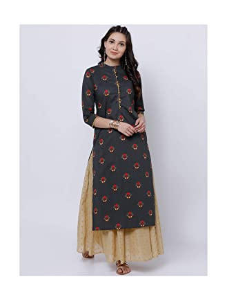 a3abf417bd50f Amazon.com  Hiral Designer Mall 3 4 Sleeves Black Printed Straight Kurta  for women Kurtis Indian party ware Tunic Top for Women  Clothing