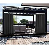 Macochico Black Outdoor Curtains for Patio Garden Gazebo Hotel Kids Room Draperies Thermal Insulated Light Proof Noise Buffer 84W x 96L (1 Panel)