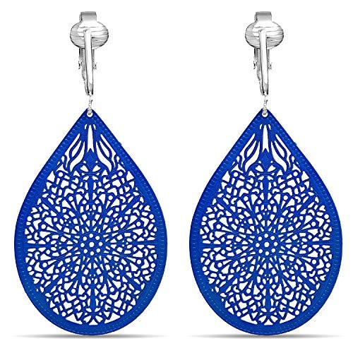 Aloha Earrings Lovely Victorian Filigree Clip On Earrings for Women Clip-ons, Lightweight Teardrop Leaf Dangle (Large Filigree- Royal Blue)