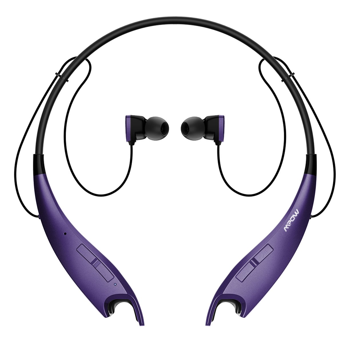 Mpow Jaws V4.1 Bluetooth Headphones Wireless Neckband Headset Stereo Noise Cancelling Earbuds w/Mic (Purple) by Mpow